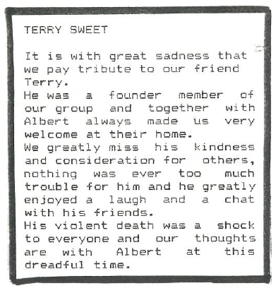 Tribute to Terry Sweet Allfellas Newsletter Autumn 1995