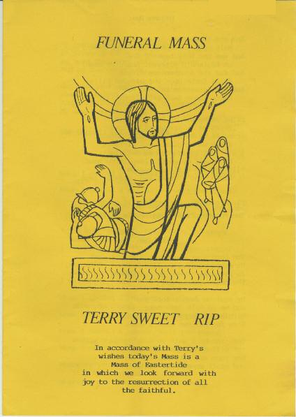 Cover of the funeral mass for Terry Sweet