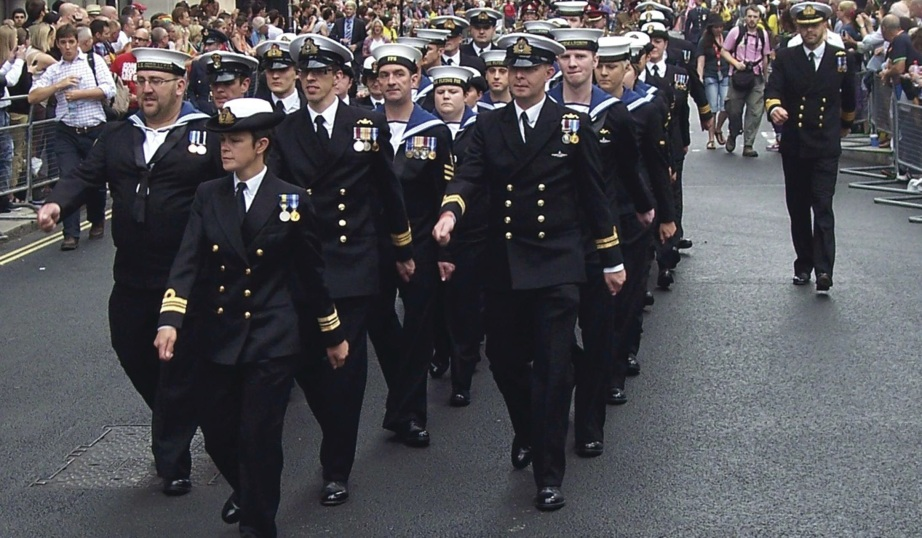 Royal Navy marching in uniform London Gay Pride 2008