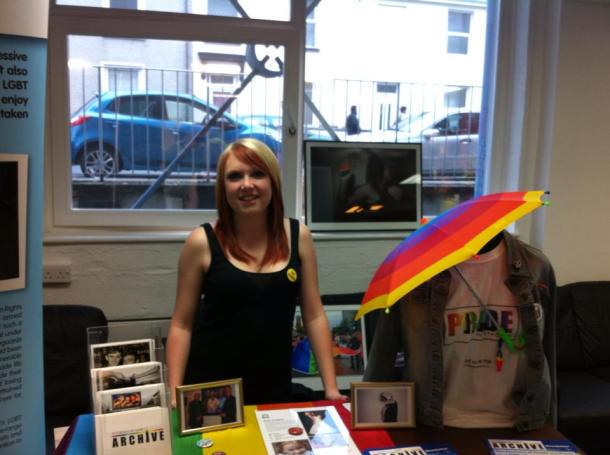 Pride Volunteer Anna at PCA Freshers Fair 2013